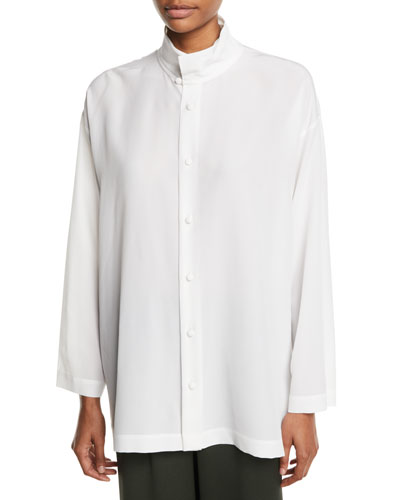 Two-Collar Long Button-Front Long-Sleeve Silk Shirt