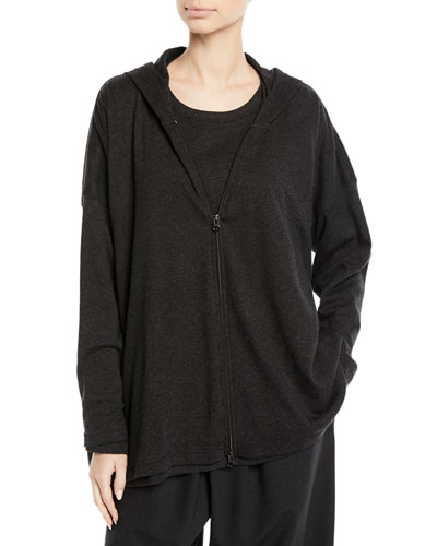Zip-Front Smaller Front Larger Back Pima Cotton Jersey Jacket