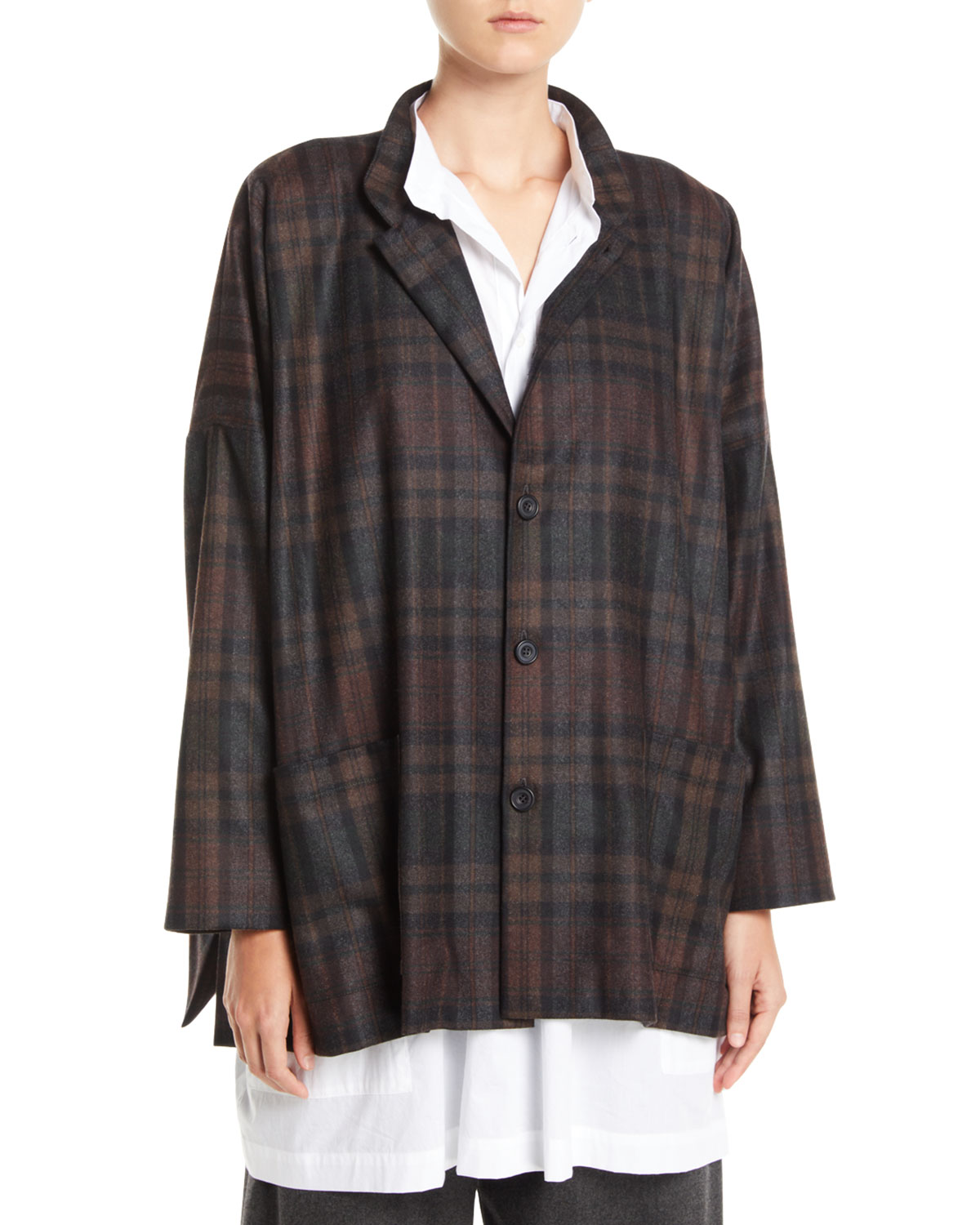 ESKANDAR WIDE MANDARIN-COLLAR PLAID WOOL-ANGORA JACKET