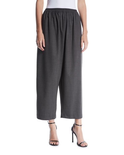 Wide-Leg Pull-On Wool Trousers