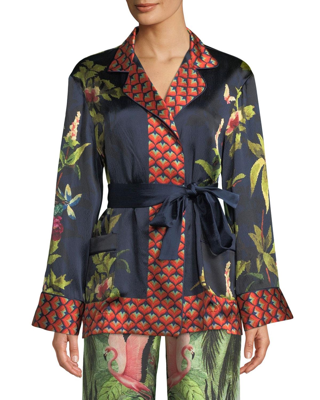 Jungle-Foliage Print Tie-Waist Silk Robe Top