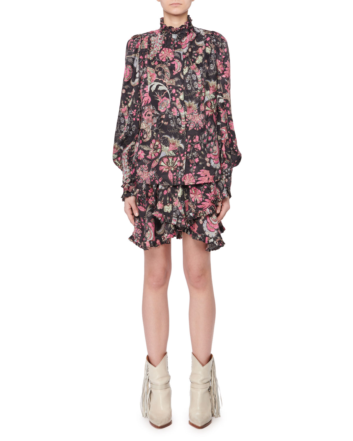 ISABEL MARANT STAND-COLLAR LONG-SLEEVE BUTTON-FRONT JACQUARD TOP