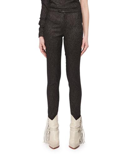 Slim Skinny-Leg Evening Metallic Pants