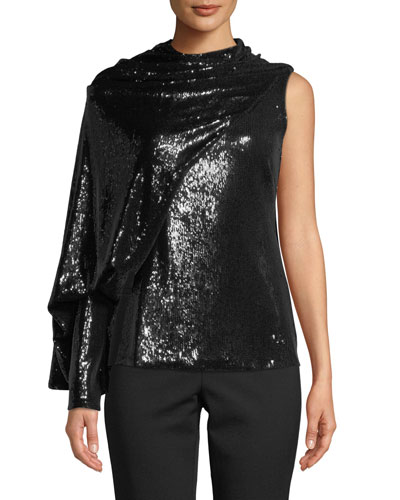 Draped Sequined Asymmetric Blouse