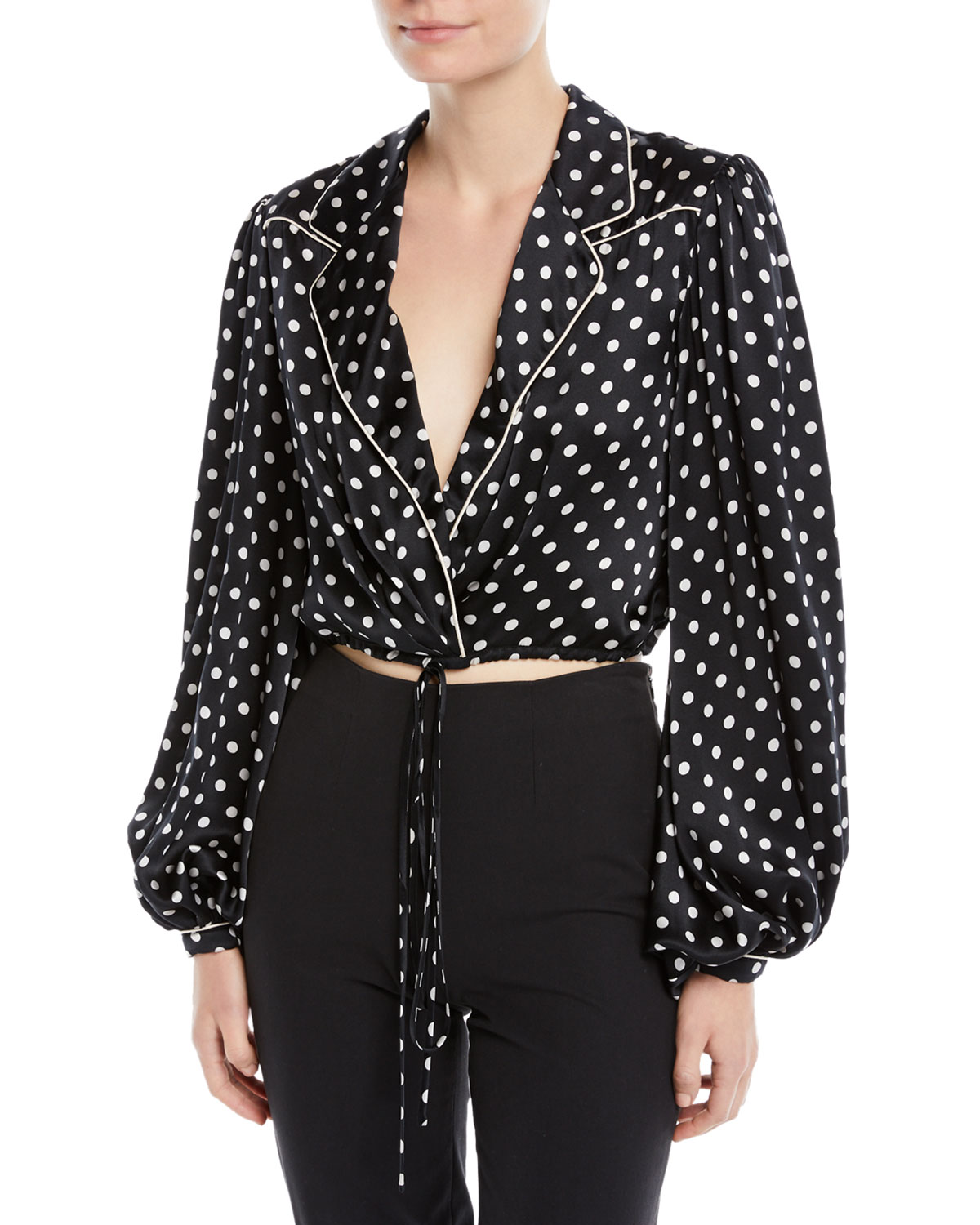 Let's Dip Polka-Dot Silk Charmeuse Cropped Wrap Blouse