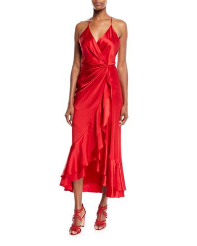 V-Neck Sleeveless Crisscross Asymmetric Drape Silk Charmeuse Cocktail Dress