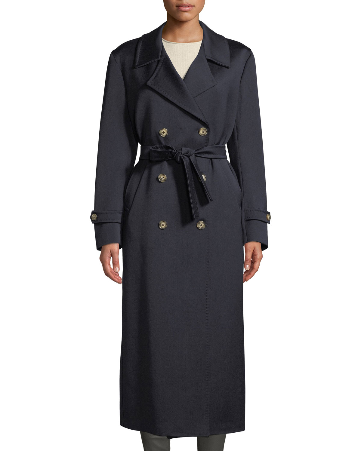 GIULIVA HERITAGE THE CHRISTIE DOUBLE-BREASTED SATEEN WOOL TRENCH COAT