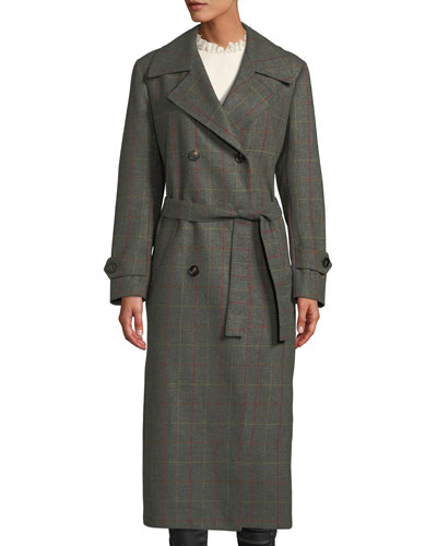 The Christie Double-Breasted Windowpane Check Wool-Cashmere Trench Coat
