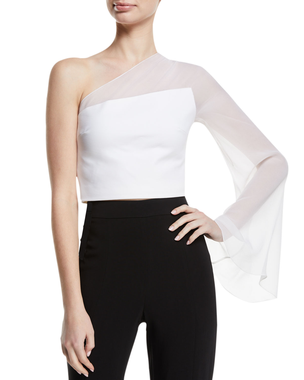 One-Shoulder Sheer-Sleeve Cropped Top