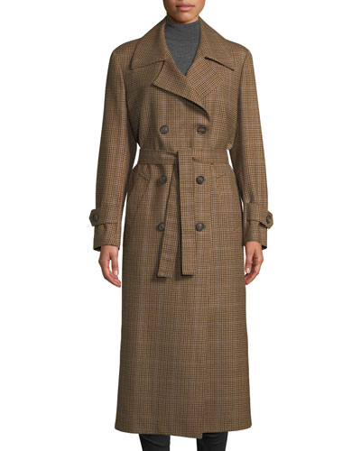 The Christie Double-Breasted Plaid Wool Trench Coat