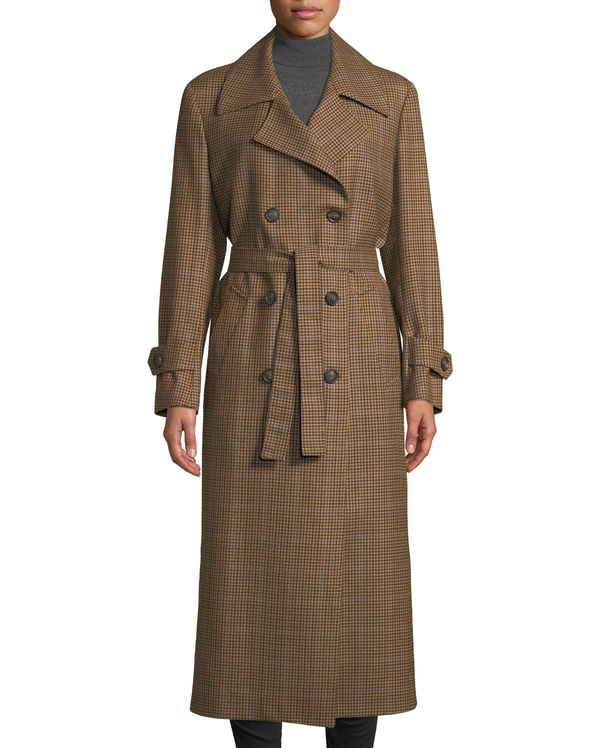 GIULIVA HERITAGE THE CHRISTIE DOUBLE-BREASTED PLAID WOOL TRENCH COAT