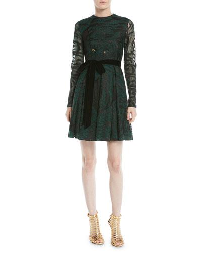 Long-Sleeve Lurex® Tiger A-Line Dress