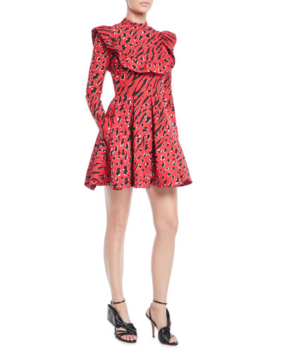 Long-Sleeve Animal-Print Crepe Couture Mini Dress w/ Ruffle Bib