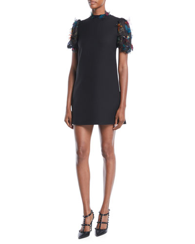 43ae26eb8f8 Short-Sleeve A-Line Crepe Dress w  Butterfly Embroidered Organza Sleeves  Quick Look. Valentino