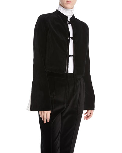 Tie-Front Bell-Sleeve Velvet Jacket w/ Pleated Insert Cuffs