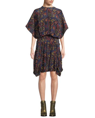 Ruffle-Sleeve Blouson Paisley-Print Silk Georgette Dress