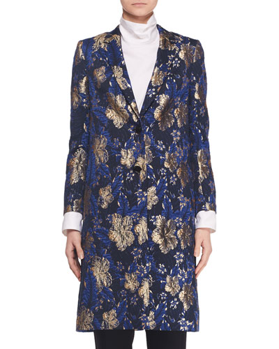 Button-Front Two-Pocket Metallic Floral-Jacquard Coat