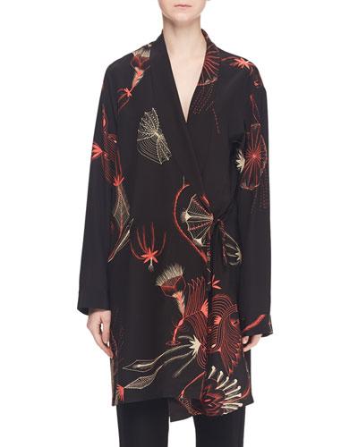 Multi-Print Long Silk Robe Jacket