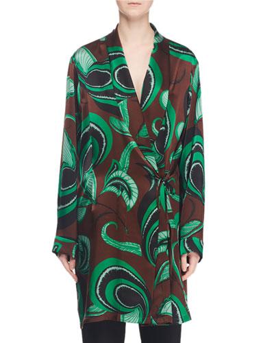 Long-Sleeve Tie-Waist Printed Silk Robe Jacket