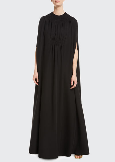 V-Neck Silk Cady Couture Slip Evening Gown with Cape