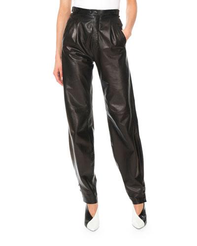 High-Waist Lamb Leather Pants