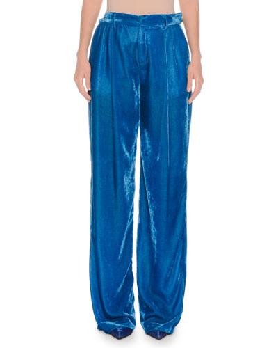 High-Rise Wide-Leg Velvet Pants