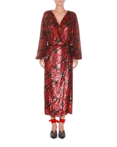 Blouson-Sleeve Plaid Sequin Wrap Robe Evening Dress