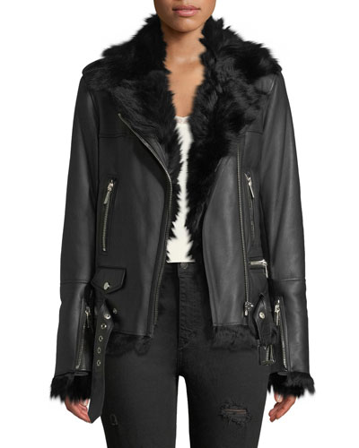 Shearling-Lined Lace-Up Sides Lamb Leather Jacket
