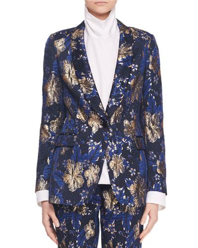 One-Button Metallic Floral-Jacquard Blazer Jacket