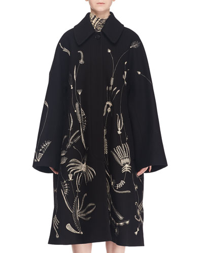 Single-Breasted Embroidered Wool-Blend Coat