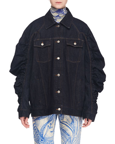 Button-Front Ruched-Sleeve Oversized Denim Jacket