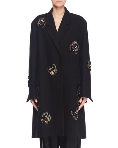 Single-Breasted Embellished Wool-Blend Coat