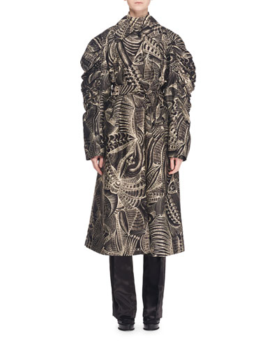 Button-Front Full Long-Sleeve Tie-Waist Abstract-Print Trench Coat