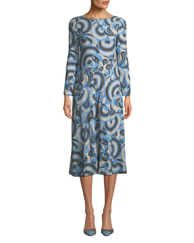 Boat-Neck Long-Sleeve Abstract Paisley-Print A-Line Midi Dress