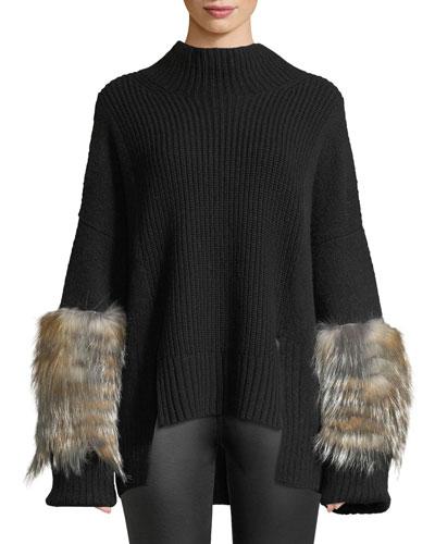 Mock-Neck Oversized Cashmere-Knit Sweater w/ Fur Cuffs