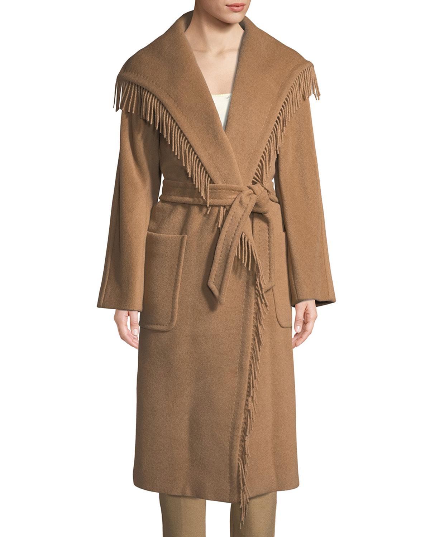 Pacos Wrap Camel Hair Coat w/ Self Belt