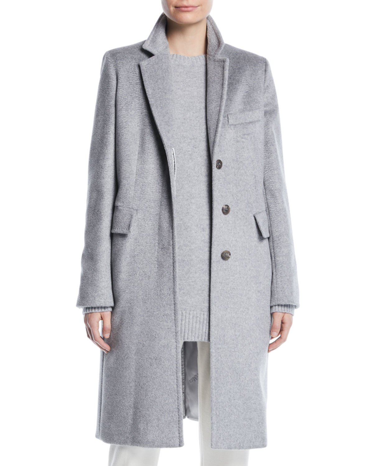 Furetto Button-Front Mid-Length Camel Hair Coat