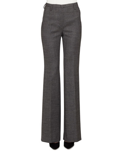 Farrah Stretch-Wool Tweed Boot-Cut Pants