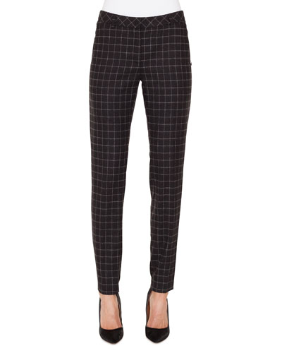 Melvin Slim Marble-Tiles Flannel Wool Pants