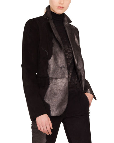 Seth One-Button Suede Patchwork Leather Jacket