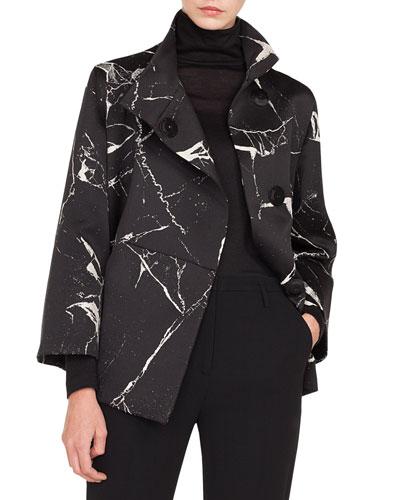 Bracelet-Sleeve Marble-Tiles Jacquard Wool-Blend Jacket