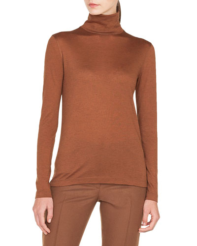 Turtleneck Long-Sleeve Cashmere-Silk Jersey Pullover Top