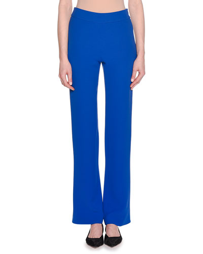 Double-Face Boot-Cut Silk Crepe Pants