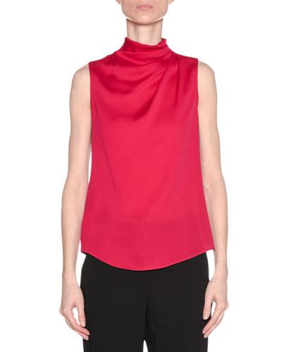 Ruched-Neck Sleeveless Silk Shell Top