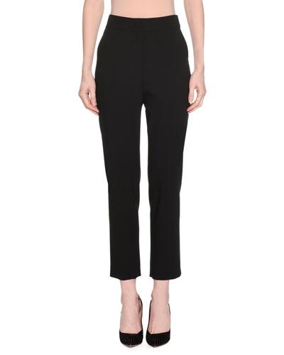 High-Waist Straight-Leg Stretch-Wool Pants w/ Slit Cuff