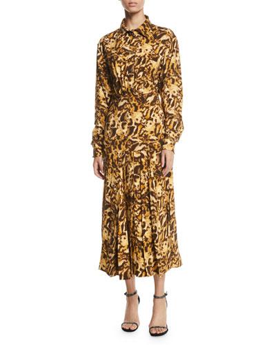 Long-Sleeve Button-Front Pleated-Skirt Leopard-Print Midi Dress