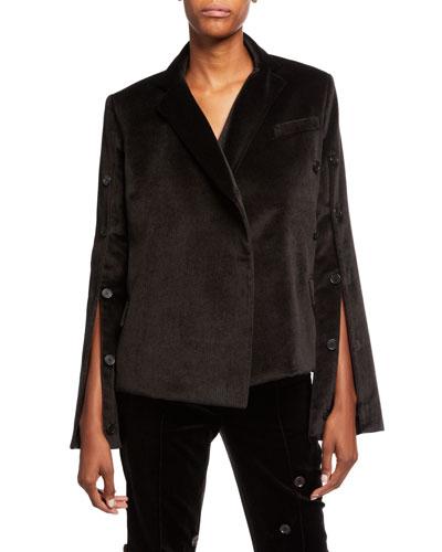 Herringbone-Print Button Front Cotton Jacket
