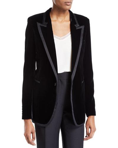 Leather-Trim Velvet Blazer