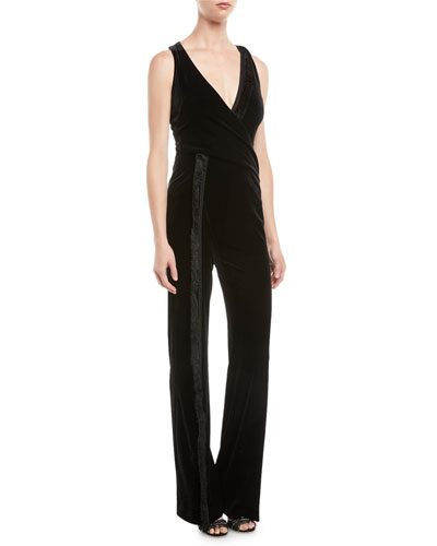 Deep V Faux-Wrap Sleeveless Velvet Flared-Leg Jumpsuit w/ Fringe Detail