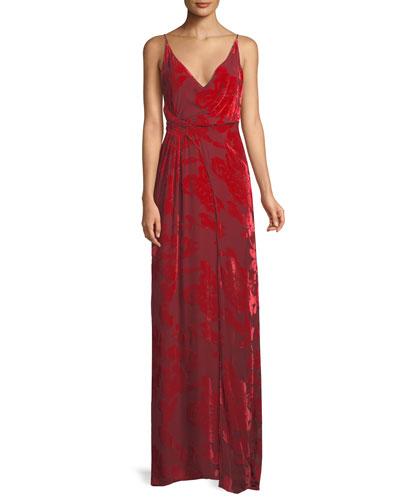 V-Neck Sleeveless Gathered-Waist Rose Velvet Devore Cami Evening Gown